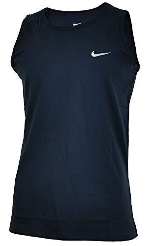 Nike Vest Uomo Regolare Fit Camicia Muscolare Cotone Fitness Navy, Dimensione:M