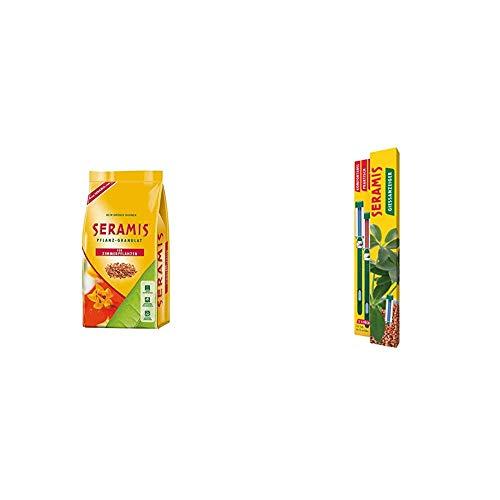 Seramis Ton-Granulat als Pflanzenerden-Ersatz für Zimmerpflanzen, Grün-, Blühpflanzen und Kräuter, Pflanz-Granulat, Ton-Farbe, 7,5 Liter & Gießanzeiger 16 cm für alle Topfpflanzen, 2 Stück, grün