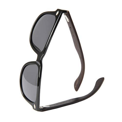 WOLA Sonnenbrille Holzbügel ICE eckige Holzbrille Damen Herren Kunststoff Rahmen
