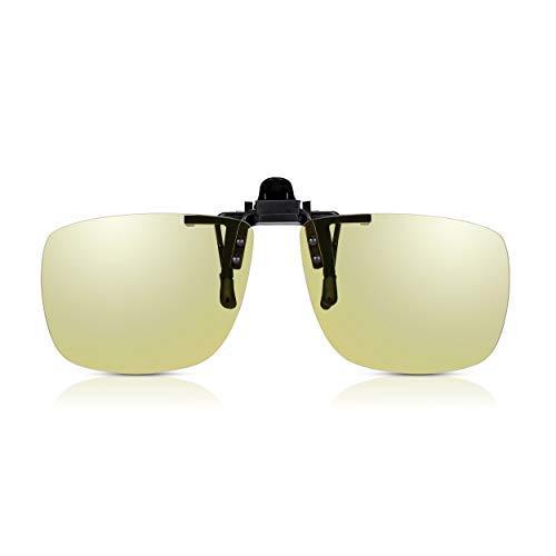 Read Optics Clip-On Autofahrer Brille: Entspiegelte, gelb getönte und TAC polarisierte UV-400 Gläser. Flip-Up Aufsatz mit Blaulichtfilter für scharfe Sicht beim Fahren oder Sport wie Radfahren, Angeln