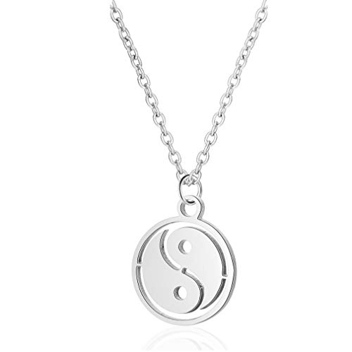 YOOE Geometric Circle Eight Diagrams Tai Chi Pendant Necklace,Stainless Steel Tadpole Comma Short Clavicle Chain Necklace for Women Girls Birthday Gifts (Silver)