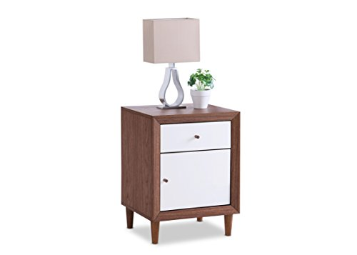Baxton Furniture Studios Harlow Mid-Century Wood 1 Drawer and 1 Door Nightstand, Medium, White and Walnut