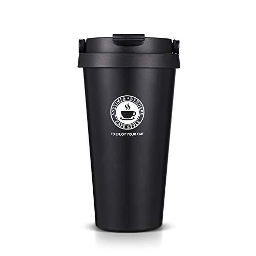 Tasse à café Tasse à café en acier inoxydable de qualité alimentaire avec couvercle - Tasse de café isolée à double paroi de 500 ml Choix santé sans BPA (Noir)