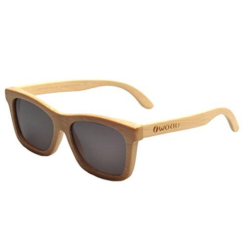Iwood Hechas a Mano Moda Pin decorativos de bambú de madera gris gafas de sol