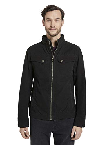 TOM TAILOR Herren & s Moderne Regenjacke Canvas-Jacke, Black, M