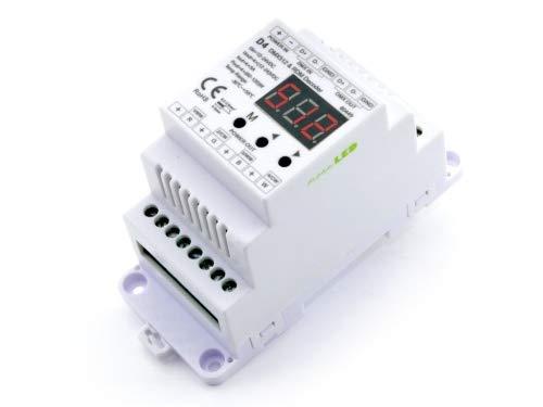 meanLED D4 4-Kanal Constant Voltage DMX512 & RDM Decoder 12-24V RGBW dimmer Controller für Hutschiene 4CH 5A/CH Auto Funktion 2 PWM Frequenzen 2000Hz/ 200Hz