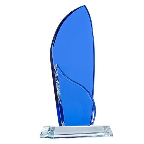 H&D HYALINE & DORA Crsytal Plaque, blauwe prijs trofee beker, glas Plaque aangepast, Lazer graveren Ornament