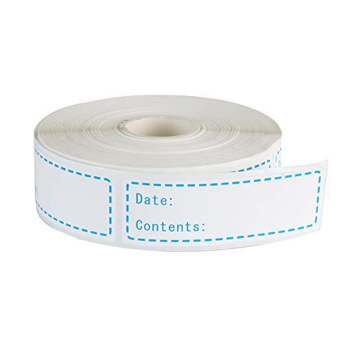 Etiquetas adhesivas 500 piezas para congelador Etiquetas adhesivas extraíbles almacenamiento de alimentos de 25 x 76 mm fecha de alimentos para frigorífico Fácil de limpiar Hojas sin residuos(Azul)