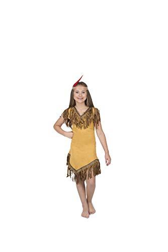 Karnival- Pocahontas Vestido y diadema, Color marrón, S (83158)