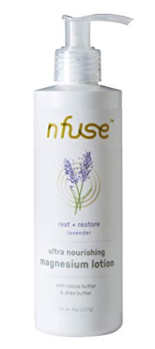 nfuse Magnesium Body Lotion - Ultra Healing - Mg++ Delivery Technology - Pure Magnesium Chloride U.S.P. - Aromatherapeutic Essential Oils - Lavender: Rest + Restore - Sleep, Stress Relief - 8 oz