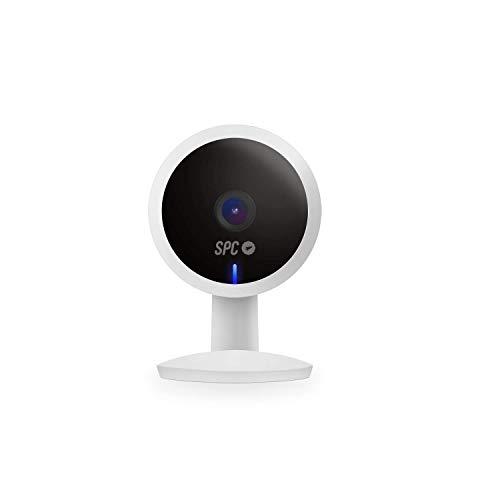 SPC Lares 2 - Cámara de seguridad inteligente Wi-Fi: visión nocturna 10m, alarma de movimiento, detección de sonido, 100º de visión, Full HD 1080p, dual speaker, control app, doble instalación, Blanco