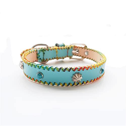 DHZYY Collar de Gato de Cuero, Collar Hecho a Mano, Cuello de Chispa Ajustable Seguro for Gatos y Perros pequeños, Azul (Size : X-Small)