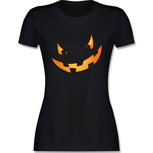 Halloween - Kürbisgesicht klein Pumpkin - M - Schwarz - Tshirt Halloween kürbis - L191 - Tailliertes Tshirt für Damen und Frauen T-Shirt