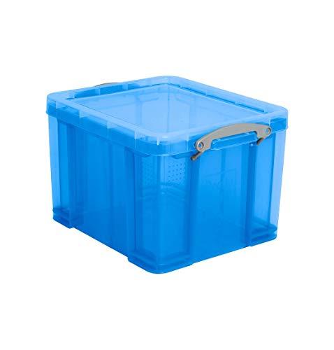 Really Useful Box Kunststoffbox, mit Deckel, vielfältig einsetzbar, temperaturbeständig, stapelbar, 35 Liter, transparent blau