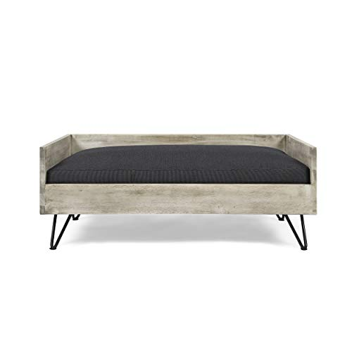 Ophelia Mid-Century Modern Pet Bed with Acacia Wood Frame, Light Gray and Gray
