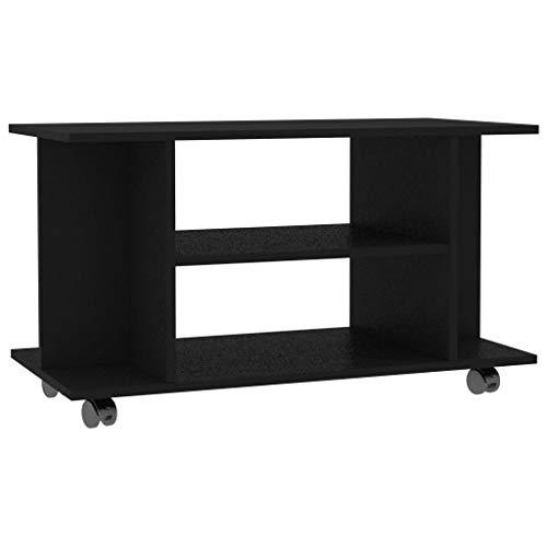 vidaXL TV Schrank mit Rollen Lowboard Fernsehtisch TV Möbel Board Tisch Fernsehschrank Sideboard HiFi-Schrank Schwarz 80x40x40cm Spanplatte