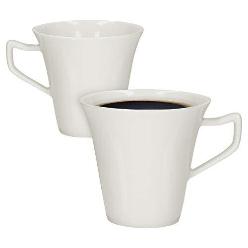 Van Well 2er Set Kaffeebecher Harmony I 200 ml I Elfenbein-Weiß I zeitlos-elegantes Design I Porzellan I spülmaschinengeeignet I Tasse, Pott I Tee, Cappuccino
