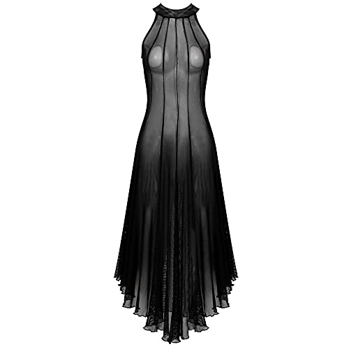 Women's Exotic Sleepwear & Robe Sets Women's Sexy Sheer Mesh Sleeveless Punk Dress-Black_M