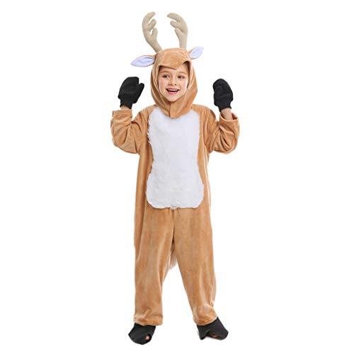 Meeyou Kids Deer Costume,Onesie Animal Pajamas for Boys&Girls,M 6-7T,Yellow