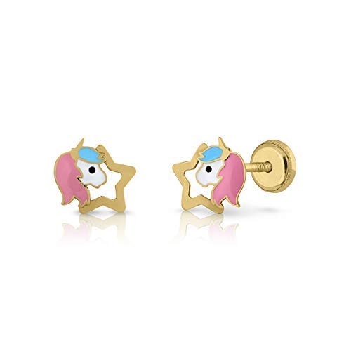 18k gold earrings, or 9K girls/women unicorn hand enamelled, jewellery measurements: 7.5 x 8 mm, with maximum safety screw back (9 carat star).