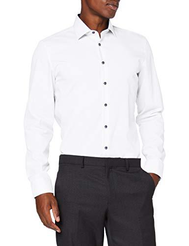 Seidensticker Herren Slim Langarm Uni Kontrastknopf Klassisches Hemd, Weiß, 43 EU