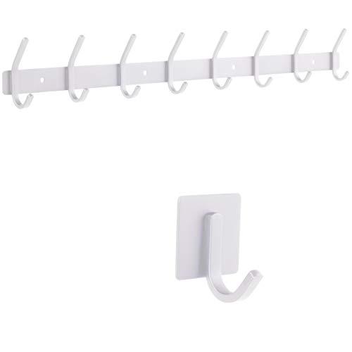 smartpeas Hakenleiste Wand-Garderobe Kleiderhaken Garderobenleiste - Weiß - Rostfreier gebürsteter Edelstahl – 8 Feste Haken halten bis 30k - Plus: 1 Selbstklebender Haken