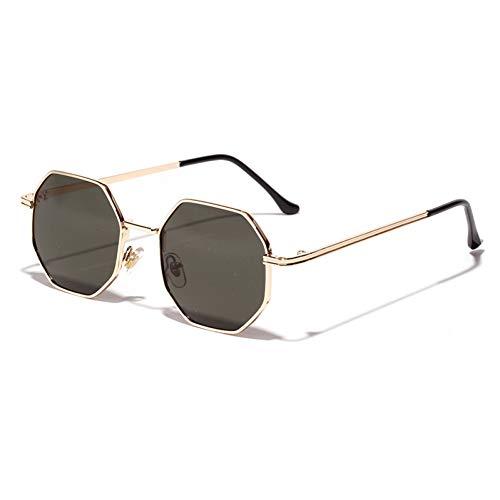 SXRAI Frauen Sonnenbrillen Männer Metall Gold Grün Braun Männlich Achteckige Sonnenbrille Für Damen Polygon Uv400,C3