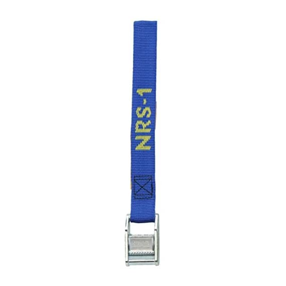 """NRS 1-Inch Heavy-Duty Tie-Down Strap 1 1"""" wide polypropylene webbing has a tensile strength of 1,500 pounds, so you can lash down your gear with confidence. Webbing is soaked in NRS proprietary UV protectant for long life in the sunny outdoors. Two center-mounted stainless-steel springs give the zinc coated steel cam buckle a stronger, more secure grip on the webbing."""
