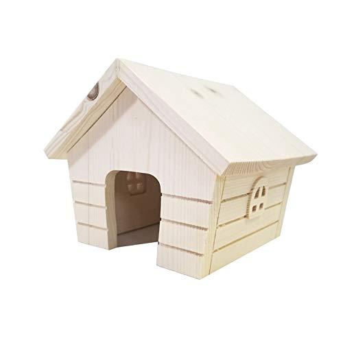 Wuxingqing Hamster Huis Hout Hamster Huis Kleine Dieren Nesting Habitat Met Raam voor Muis Chinchilla Rat Gerbil Dwerg Hamster, 15X17X14CM, Picture color