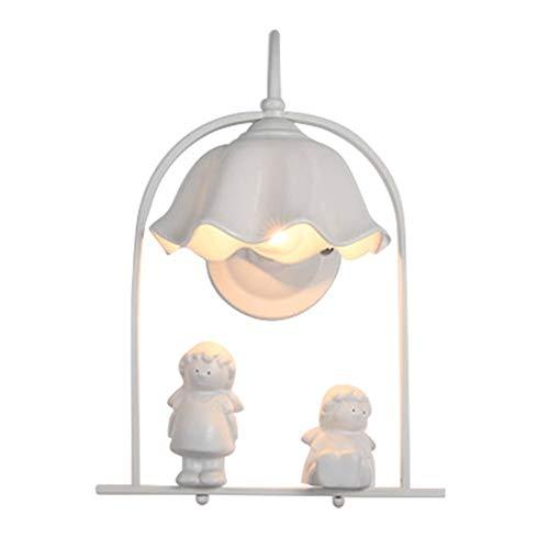 Nordique minimaliste résine ange applique murale pour salon allée créatif enfants chambre lampe mezzanine décor escalier led mur lumière E27,Glasslampshade