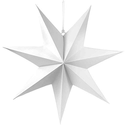 Frau WUNDERVoll® liebevolle Faltsterne weiß 1 Stück Durchmesser 70 cm 7 Zacken geschlossene Oberfläche Feste Pappe