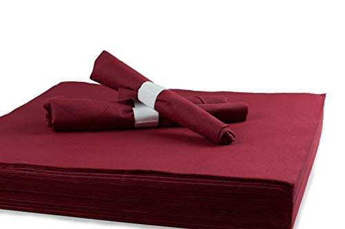 "Simulinen Dinner, Catering & Party Napkins – Burgundy – Decorative Colored Napkin – Durable, Elegant, Cloth Like & Disposable (16""x16"", 250 Un-Folded)"