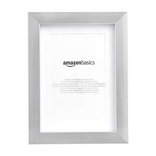 AmazonBasics – Marco para fotos con paspartú, 13 x 18cm con paspartú de 10 x 15 cm, Níquel, Pack de 2 uds