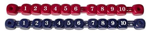 Toranzeigen für Kickertische, rot und blau.