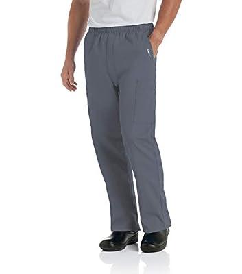 Landau Men's Comfort 7-Pocket Elastic Waist Drawstring Cargo Scrub Pant, Steel, Large Short