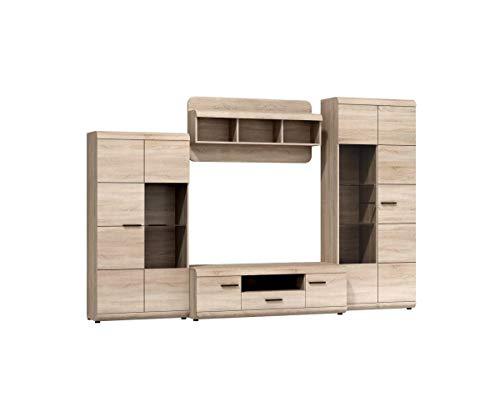 Furniture24 Wohnwand LINK, Anbauwand, Vitrine, Lowboard, Hängeregal, Vitrinenschrank, (Ohne Beleuchtung)