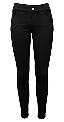 Sockenhimmel leichte Thermo Skinny Hose gefütterte Jeggings Damen Winterhose mit leichtem Stretch-Gewebe (38-40, Schwarz)
