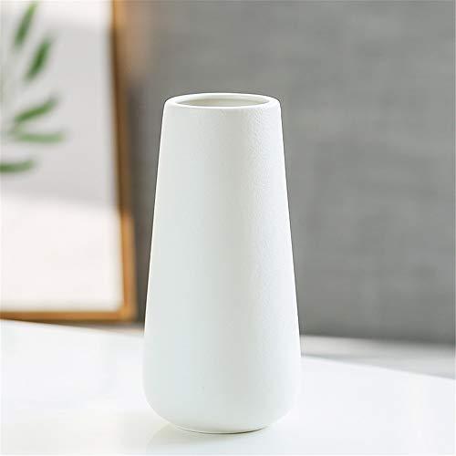 Wankd Keramik Blumenvasen, Geometrische dekorative Vase für Wohnzimmer, Küche, Tisch, Zuhause, Büro, Hochzeit als Geschenk Zum Muttertag,6.5 * 20cm(Weiß)