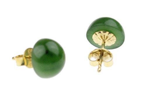 "c-c Damen Ohrstecker Edelstein\""Jade russ. - grün\"" Cabouchon -Sterling Silber vergoldet"