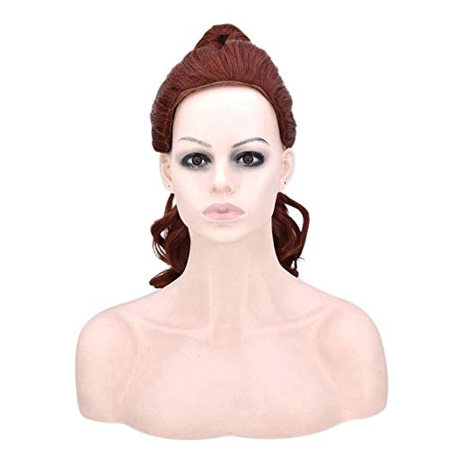 Anime Movie Beauty and The Beast Princess Bell Cosplay Pruiken for alle huid Vrouwen, Red Brown Lang Krullend Haar Hoge temperatuur vezel Pruik themafeest Wig