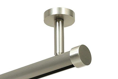 Gordijnroeum Hoogwaardige, ronde 20 mm gordijnroede, gordijnroede, moderne binnenloop, plafondbevestiging met plafonddrager en eenvoudige eindkap 1-Lauf- 5,00 m ( 3x1,66 m + Verbinder) Roestvrij staalkleurig.