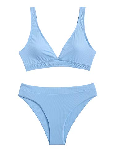 SheIn Women's V Neck Wireless Bikini Set Swimsuit with Panty Two Piece Swimsuits Blue X-Large