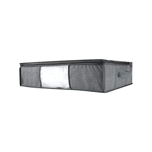 2-in-1 Under The Bed Vacuum Storage Bag Tote in Grey 23.6'x 17.75'x 6' Fabric Textured