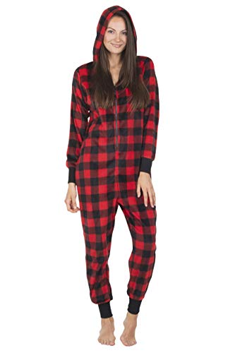 Totally Pink Micro Fleece Buffalo Plaid Adult Onesie Women One-Piece Novelty Pajamas (Red, Large)