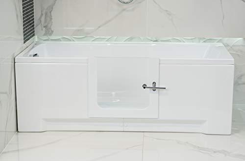 Begehbare Badewanne aus Acryl, Mobilitätshilfe, Seitentür, vollständig anpassbar, 1600 x 700 x 550 + Paneele + Abfluss auf der rechten Seite, Bernsteinfarben