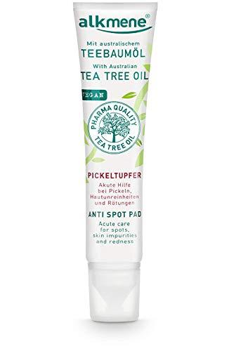 alkmene Teebaumöl SOS Anti Pickeltupfer - Akute Hilfe bei Pickel, Hautunreinheiten & Rötungen - vegane Gesichtspflege ohne Silikone, Parabene & Mineralöl (1x 15 ml)