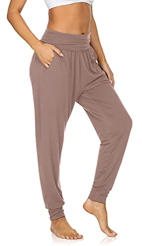 UEU Women's Thin High Waisted Sleep Fashion Yoga Joggers Pants Loose Fitting Fitness Workout Sweatpants Comfy Lounge Sweat Pants with Pockets(LightCoffee,M)