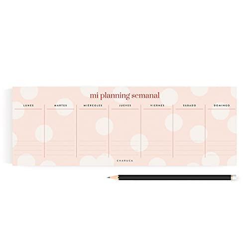 Planificador panorámico pink. Charuca. Semanal.