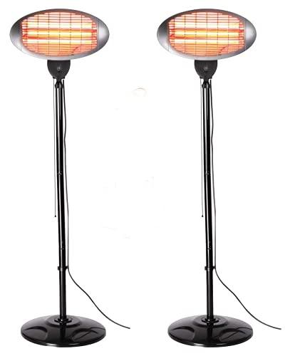 Heatlab Set of 2 2kW Outdoor Freestanding Electric Quartz Bulb Garden Patio Heaters - 3 Power Settings (Set of 2 Grey FreeStanding Heaters)