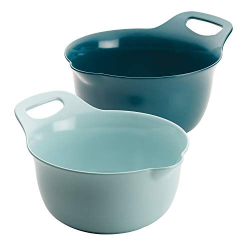 Rachael Ray Tools and Gadgets Nesting / Stackable Mixing Bowl Set with Pour Spouts and Handle – 2 and three Quarts, Light Blue and Teal
